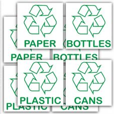 8 x Recycling Bin Stickers-Recycle Paper,Plastic,Cans,Bottles.With Logo Signs